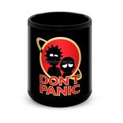 """Большая черная кружка """"Don't panic"""" (Рик и Морти)"""